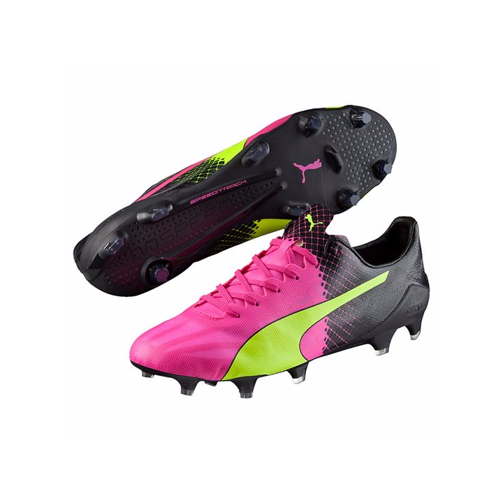 Puma evoSPEED II SL Tricks Firm Ground Football Boots Pink-Pink Glo/Safety Yellow/Black Image