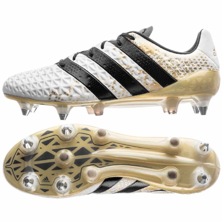 adidas Ace 16.1 Soft Ground Football Boots - White/Core Black/Gold Metallic Image
