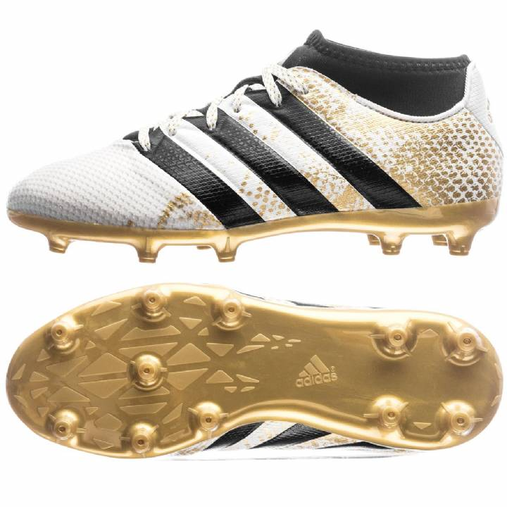adidas Ace 16.3 PrimeMesh Firm Ground Football Boots - White/Gold Metallic/Core Black Image