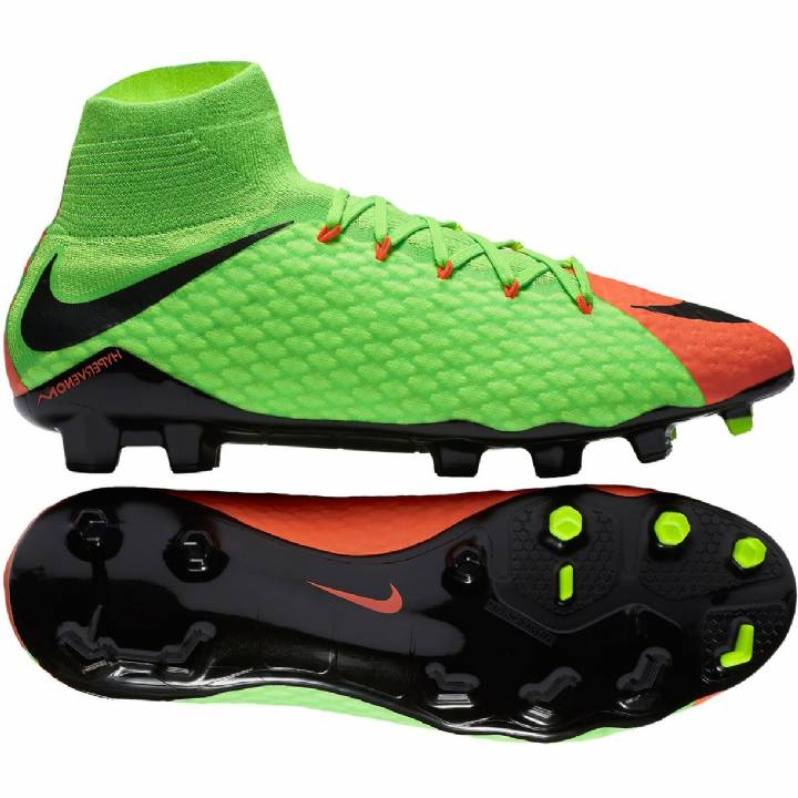 Nike Hypervenom Phatal III Firm Ground Football Boots - Electric Green/Black/Hyper Orange/Volt Image