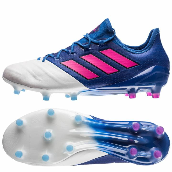 adidas Ace 17.1 Leather Firm Ground Football Boots - Blue/Shock Pink/White Image