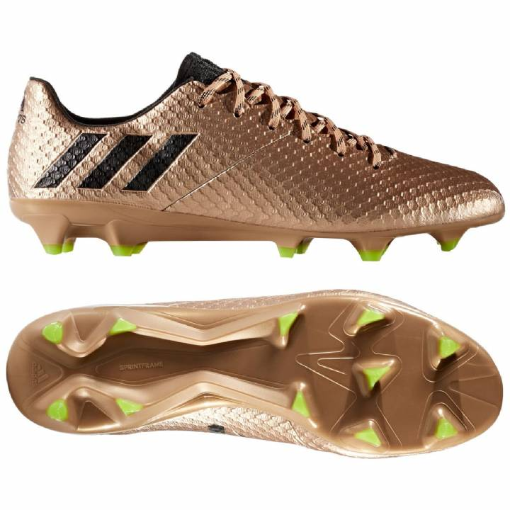 adidas Messi 16.1 Firm Ground Football Boots - Copper Metal/Core Black/Solar Green