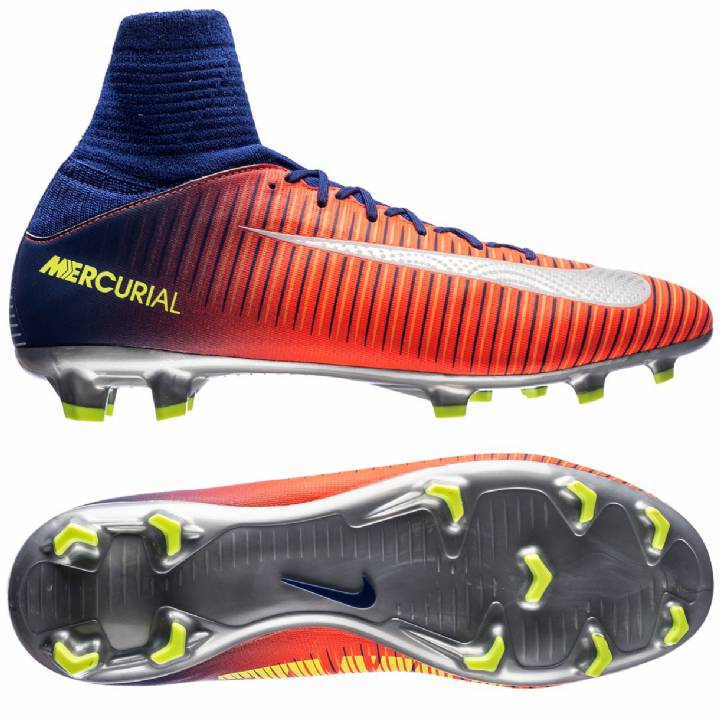 Nike Mercurial Superfly V Firm Ground Football Boots - Deep Royal Blue/Chrome/Total Crimson - Kids Image