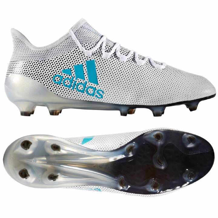 adidas X 17.1 Firm Ground Football Boots - White/Energy Blue/Clear Grey