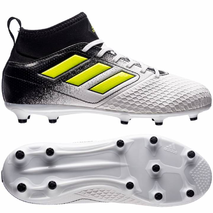 adidas Ace 17.3 Firm Ground Football Boots - White/Solar Yellow/Core Black - Kids