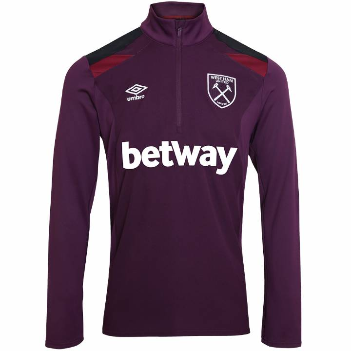 Umbro West Ham United Training Half Zip Top - Winter Bloom/Black/New Claret - Mens Image