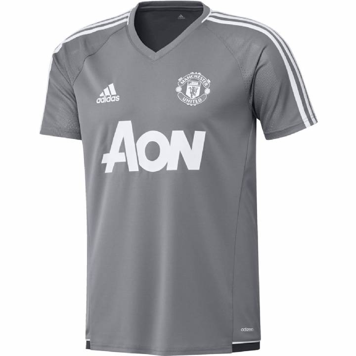 adidas Manchester United Training Shirt 2017/18 - Grey - Mens Image