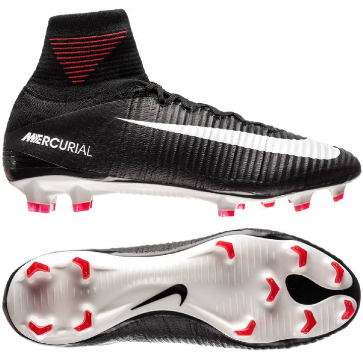 Nike Mercurial Superfly V Firm Ground Football Boots - Black/White/Dark Grey Image
