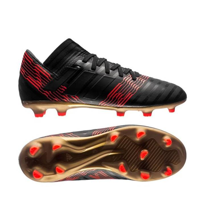 adidas Nemeziz 17.3 Firm Ground Football Boots - Core Black/Solar Red Kids