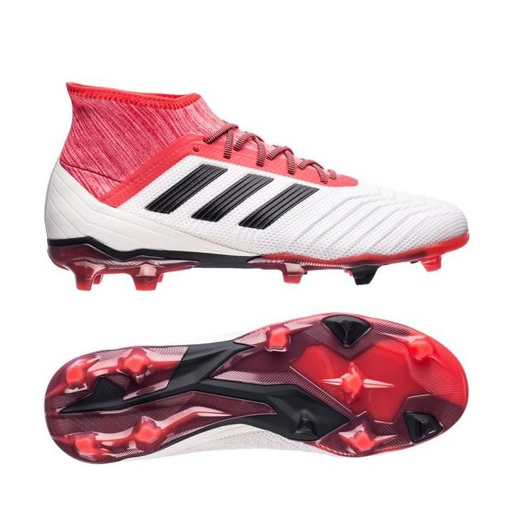 adidas Predator 18.2 Firm Ground Football Boots - Footwear White/Core Black/Real Coral