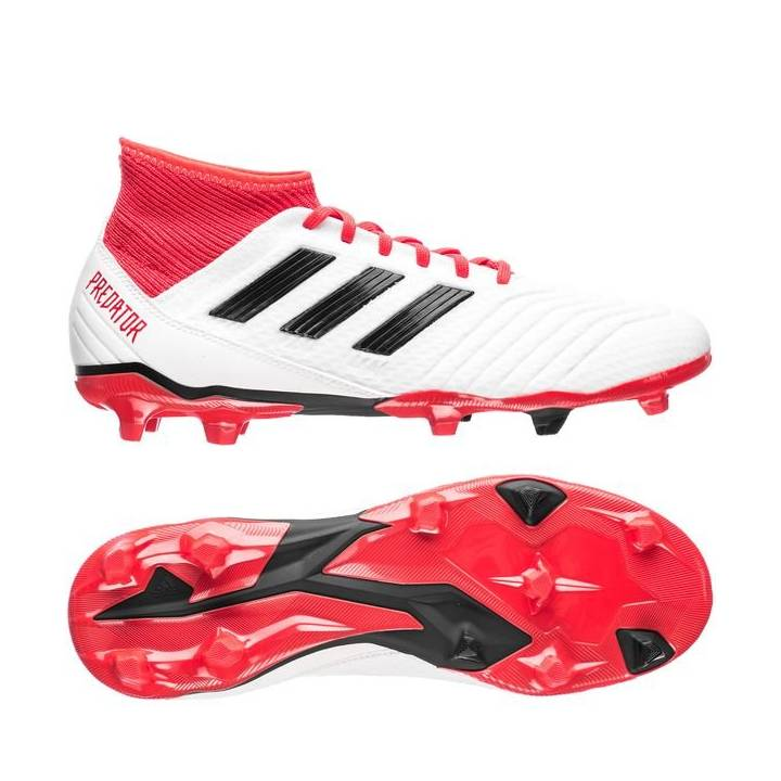 adidas Predator 18.3 Firm Ground Football Boots - Footwear White/Core Black/Real Coral