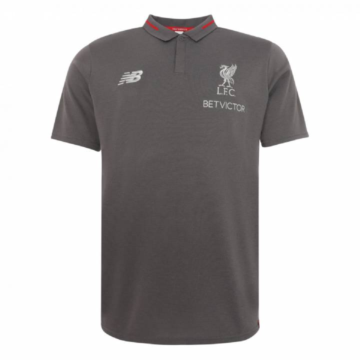 New Balance Liverpool Training Elite Leisure Essential Polo Shirt 2018/19 - Grey - Mens Image