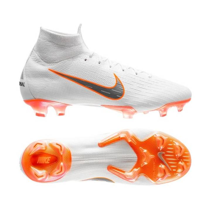 Nike Mercurial Superfly 6 Elite Firm Ground Football Boots - White/Total Orange Image
