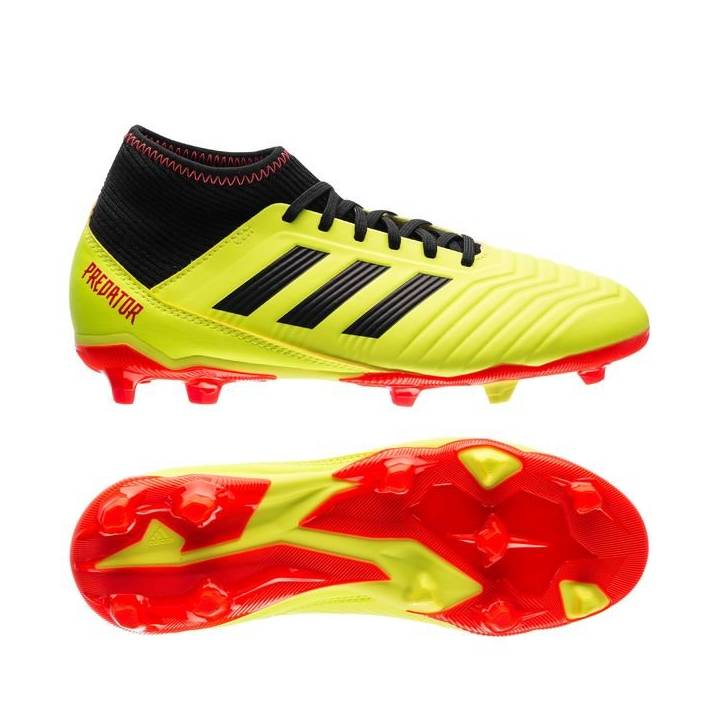 adidas Predator 18.3 Firm Ground Football Boots - Solar Yellow/Core Black - Kids