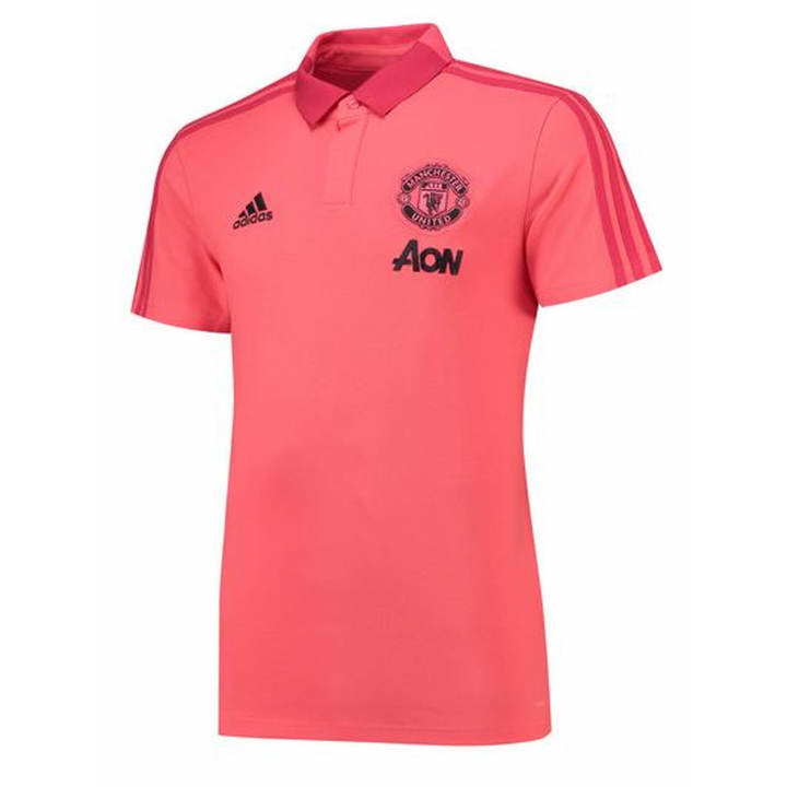 adidas Manchester United Training Polo Shirt 2018/19 - Pink - Mens Image