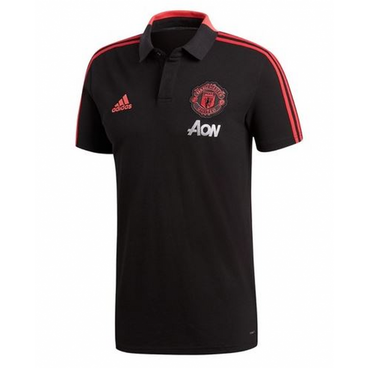 adidas Manchester United Training Polo Shirt 2018/19 - Black - Mens Image