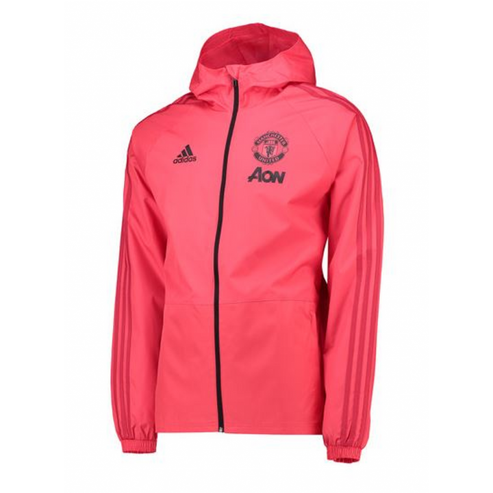 adidas Manchester United Training Rain Jacket 2018/19 - Pink - Mens Image