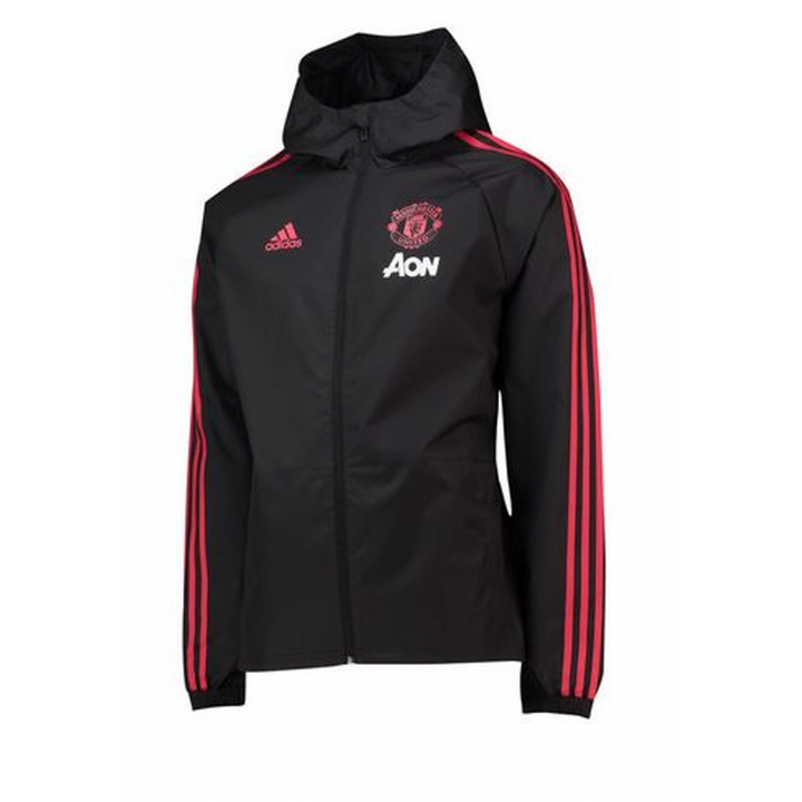 adidas Manchester United Training Rain Jacket 2018/19 - Black - Mens Image