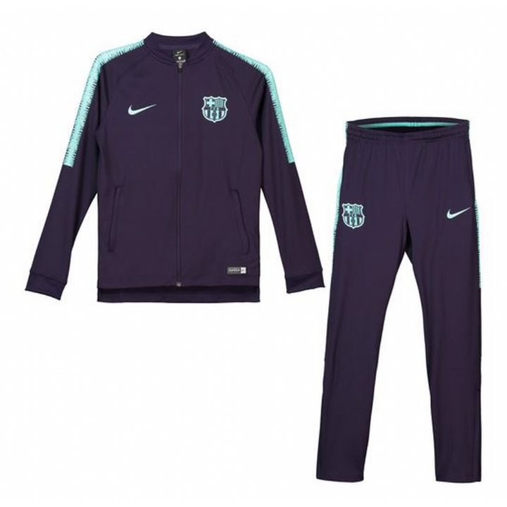 Nike Barcelona Squad Training Knit Tracksuit 2018/19 - Purple - Kids Image