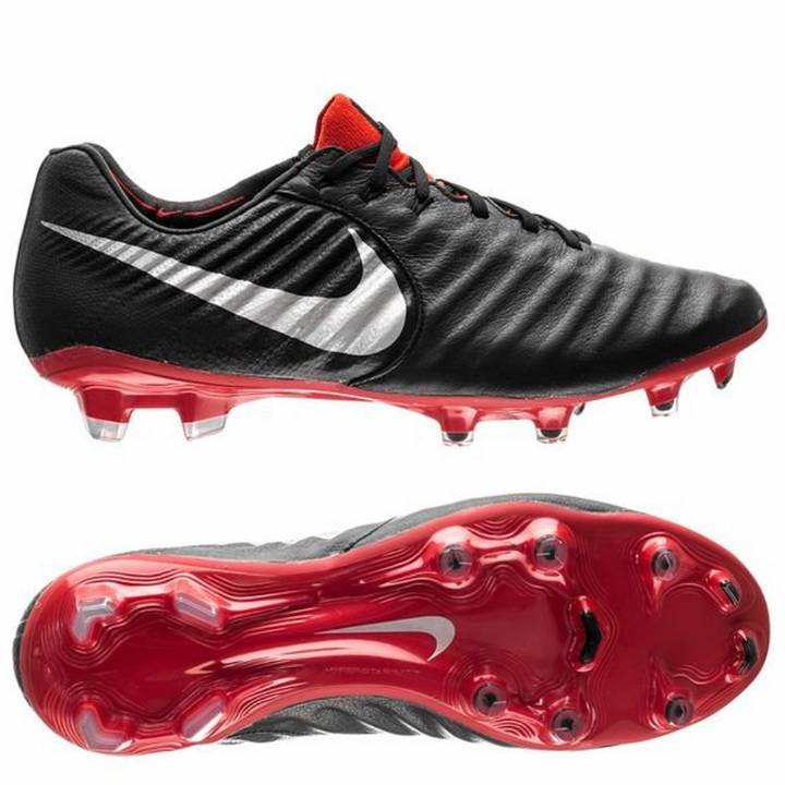 Nike Tiempo Legend VII 7 Elite Firm Ground Football Boot - Black/Metallic Silver/Light Crimson Image