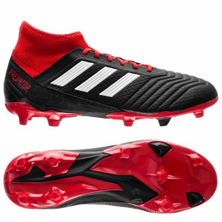 adidas Predator 18.3 Firm Ground Football Boots - Core Black/Footwear White/Red