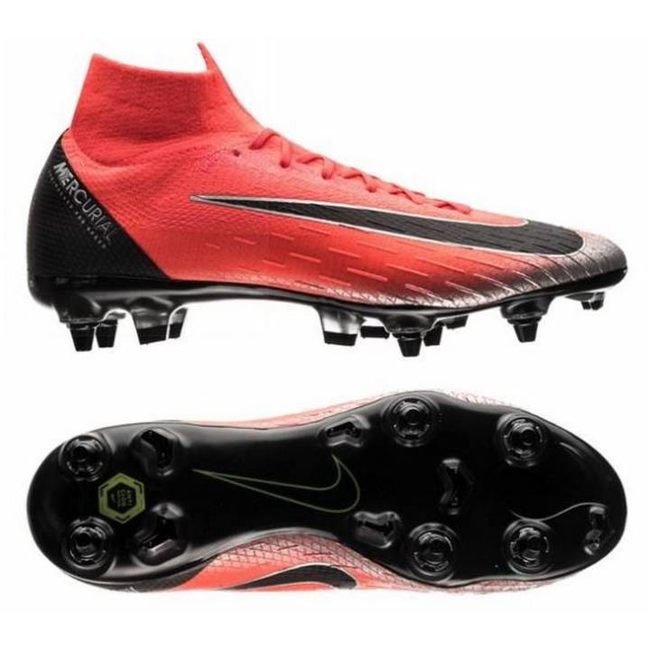 Nike Mercurial Superfly VI 6 Elite CR7 Anti-Clog Soft Ground Pro Football Boots - Red/Black