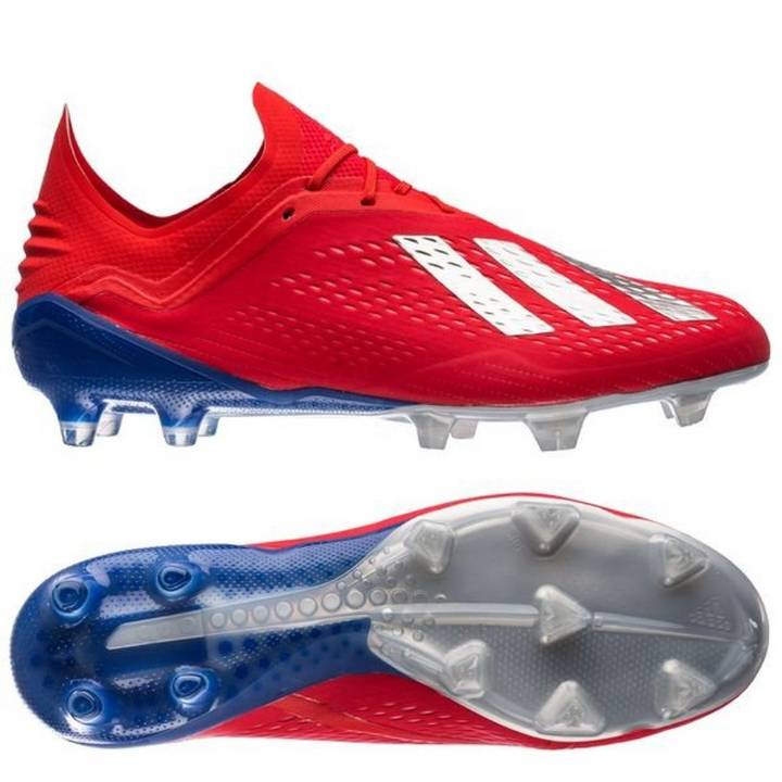 adidas X 18.1 Firm Ground Football Boots - Action Red/Silver Metallic/Bold Blue Image