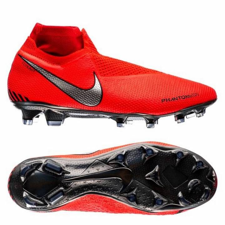 Nike Phantom Vision Elite Dynamic Fit Firm Ground Football Boots - Bright Crimson/Metallic Silver Image