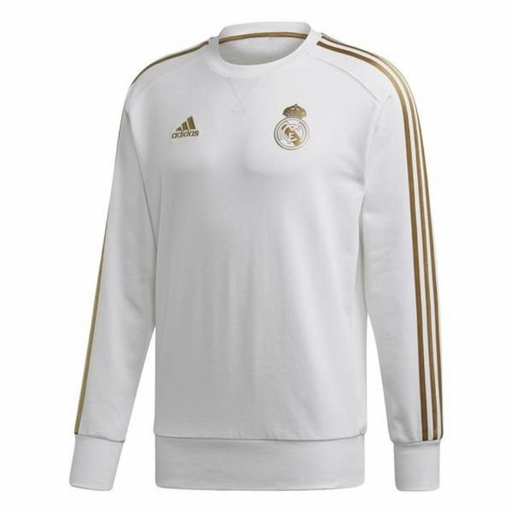 adidas Real Madrid Training Sweat Top 2019/20 - White - Mens Image